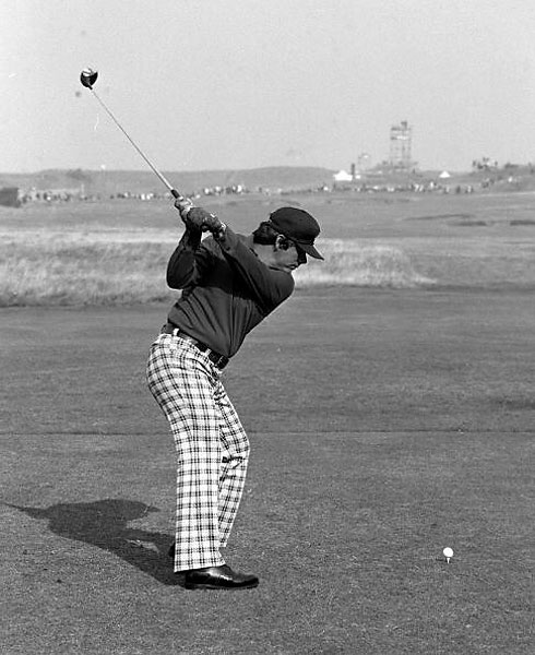 Lee Trevino, a hustling club pro from El Paso, Texas, had plenty of style and flair on the course, especially his boot-cut plaid trousers. He won the British Open twice, in 1971 and 1972.  Here he is at Royal Troon in 1973.