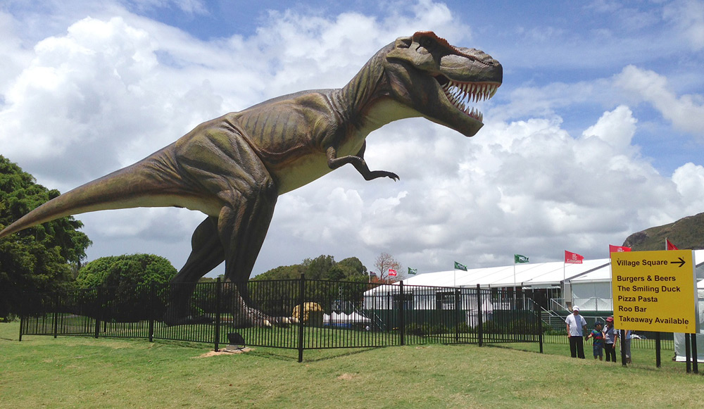 A 26-foot mechanical T-Rex was on display between the ninth green and 10th tee during the Australian PGA.