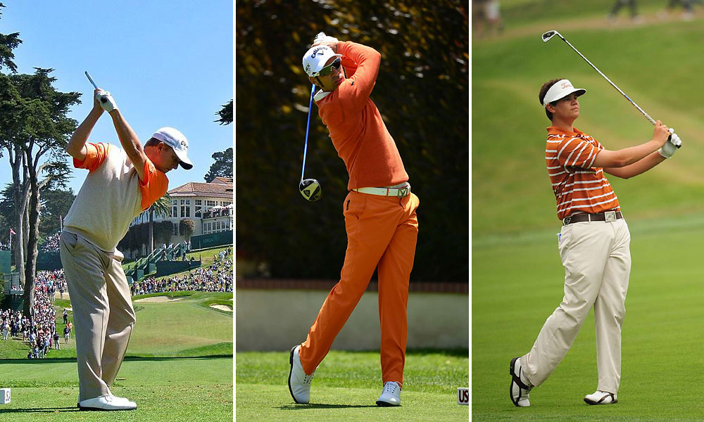 The Fowler factor                           Brilliant orange is now turning up all over, thanks to Rickie Fowler. Wait a minute, that's Alvaro Quiros (center) wearing orange from head to toe. Other Open orange cats: David Toms (left), Beau Hossler (right), and Jordan Spieth (not shown).