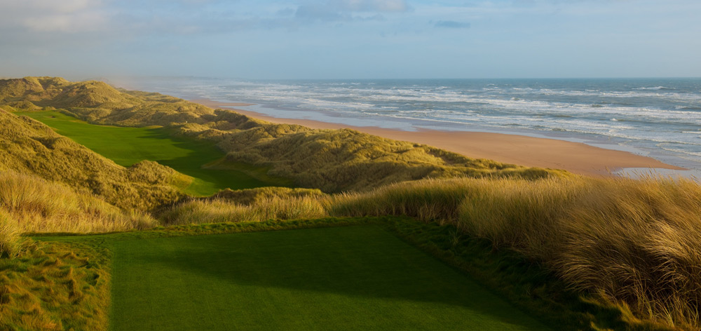 Trump International Golf Links-Scotland -- Aberdeen, Scotland -- No. 14: Par 4, 445 yards                       You've got to climb to the elevated back tee to absorb the entire tableau, but it's worth the trek for the jaw-dropping vistas of the North Sea, its beach and an amphitheater of gigantic dunes framing a fairway that's wider than it looks.