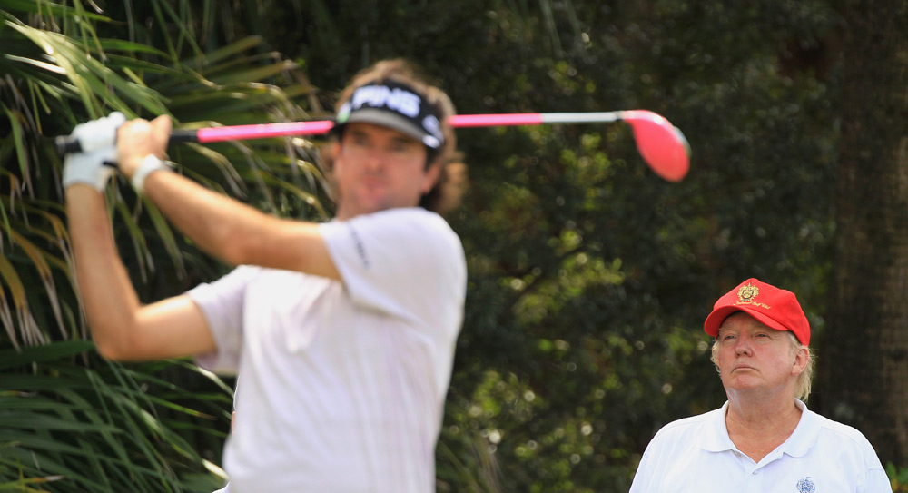 Donald Trump, who purchased the Doral Resort earlier this year, watched as Bubba Watson teed off at the Cadillac Championship.