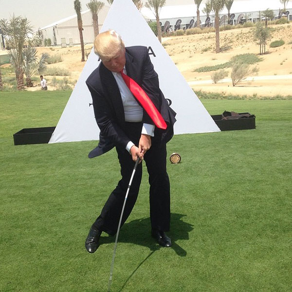 @realdonaldtrump: Hitting the first ball at Trump International Dubai, 272 right down the middle.