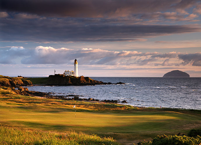 9. Turnberry (Ailsa), Turnberry, Scotland: Now under the Trump aegis, Turnberry provides unforgettable images, from Tom Watson's heroic and tragic performances to remarkable seaside holes such as the 9th, called by Gene Sarazen as the greatest par-4 in golf and the 10th, which some feel is even better. Both sports churning surf and a lighthouse to the left, as well as vistas of the football-shaped monolith called Ailsa Craig jutting out of the sea.