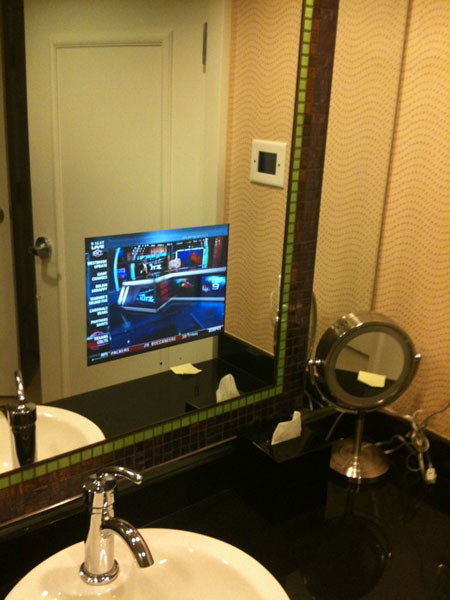 Not to be outdone, Bubba Watson, who was also in Las Vegas for the 3-Tour Challenge, tweeted a picture of his bathroom TV.                            BubbaWatson Hey @stewartcink I got a tv too! (9:19 a.m. Nov. 9)