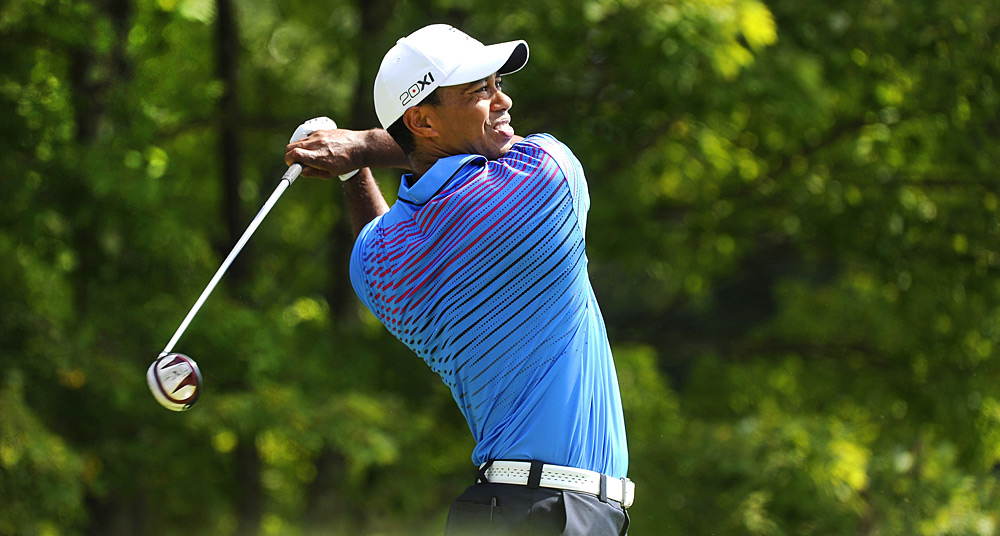 Tiger Woods shot a three-under 68 to finish two shots off the lead on Saturday.