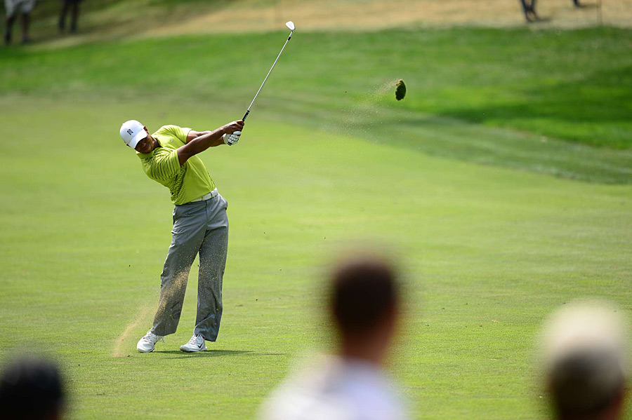 Tiger Woods shot a one-over 72 on Saturday to drop down the leaderboard.