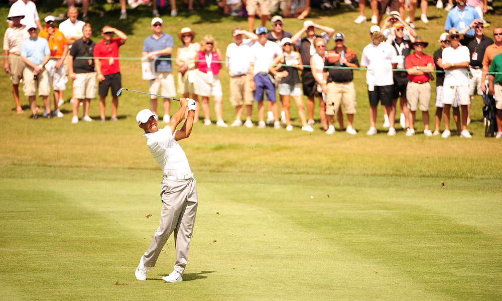 Woods hit nearly every fairway and green in regulation in the second round.