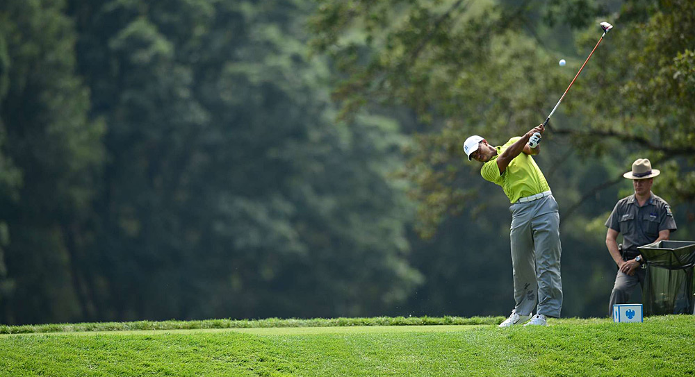 Woods dealt with back pain on Friday, but he was back to swinging like his usual self on Saturday.