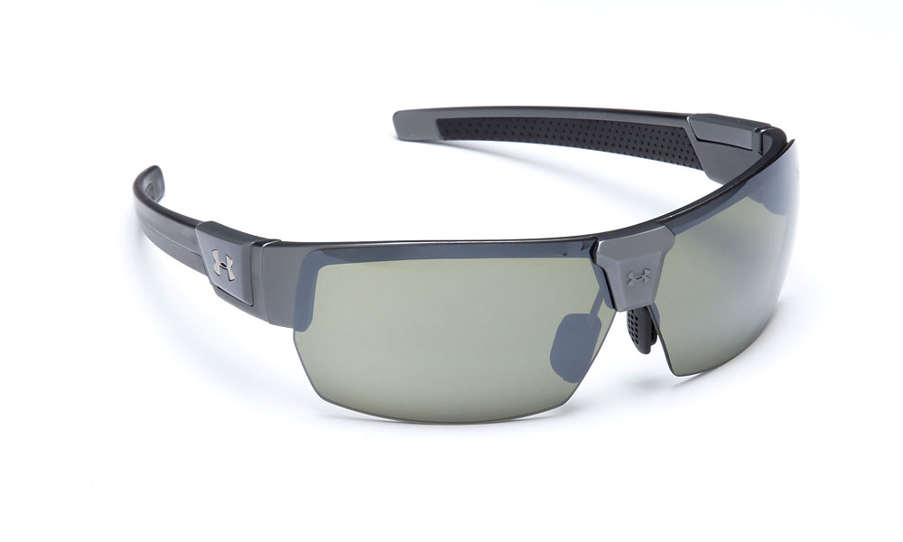 Under Armour UA Drive, $120; shop.golf.com                       Collaboratively designed with Hunter Mahan, the strong, light titanium and Grilamid (nylon) frames complement durable polycarbonate lenses that sharpen vision and limit distortion to the edges of the lenses. The frame attaches to the lenses and nose pad only, which allows air flow and prevents overheating and fogging.