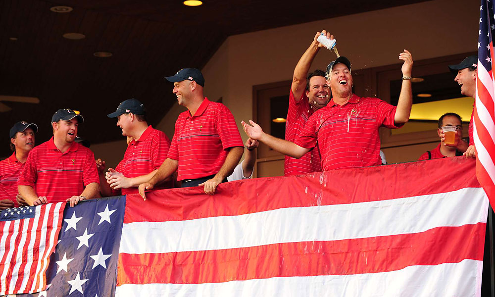 Boo Weekley received lots of support from the fans and was congratulated at the celebration with a beer dousing from Captain Azinger.