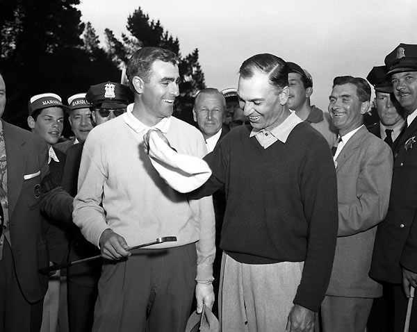 "A funny thing happened to Ben Hogan on his way to a record fifth U.S. Open win — unknown Jack Fleck threw a pie in his face. Not literally, of course, but Hogan was wearing egg after finishing the fourth round and tossing his ball to USGA domo Joe Dey, exclaiming, ""This is for Golf House"" (the USGA museum). But Fleck finished birdie-par-par-birdie on an Olympic Club course where 7-over-par 287 was low score. Apparently undaunted, Fleck threw a 69 at Hogan to take the playoff, in what many consider the greatest upset in golf history."