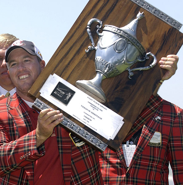 The folks at the Verizon Heritage couldn't decide between a plaque and a trophy, so winners, including Boo Weekley in 2008, get both, not to mention a sweet plaid jacket.