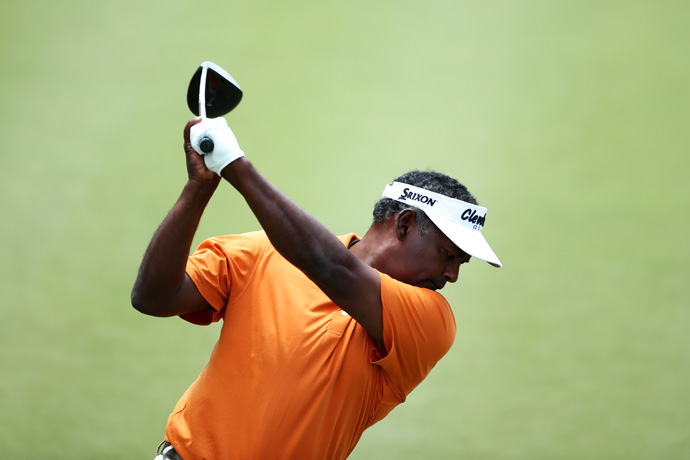 Vijay Singh practiced at TPC Sawgrass the same day he filed a lawsuit against the PGA Tour over his deer-antler spray controversy.