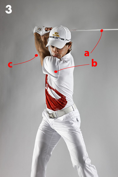 Simplify Your Backswing                       Use your shoulders as your guide                                              When I play in pro-ams I see a lot of amateurs freeze up at address — you can see the gears turning in their heads as they cycle through all the things they've been taught to do to get the club started on its way to the top. Once you start thinking about how to turn your hips, when to hinge your wrists, or what to do with your arms, you're toast. I haven't thought about my backswing in years, except for the times I've been working on something specific at the range. In my opinion, the more you think about mechanics, the less likely you are to repeat a good swing.