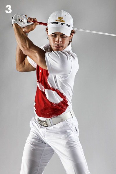 I will, however, concentrate on my shoulder turn before I begin my takeaway. I picture a nice big turn so that my back faces the target at the top. If I do that, then I know that everything else is in perfect position. I know where my clubhead is at the top of my swing because I've seen it on video, but I don't strive to put it there on the course. I just turn my shoulders. Easy and repeatable.