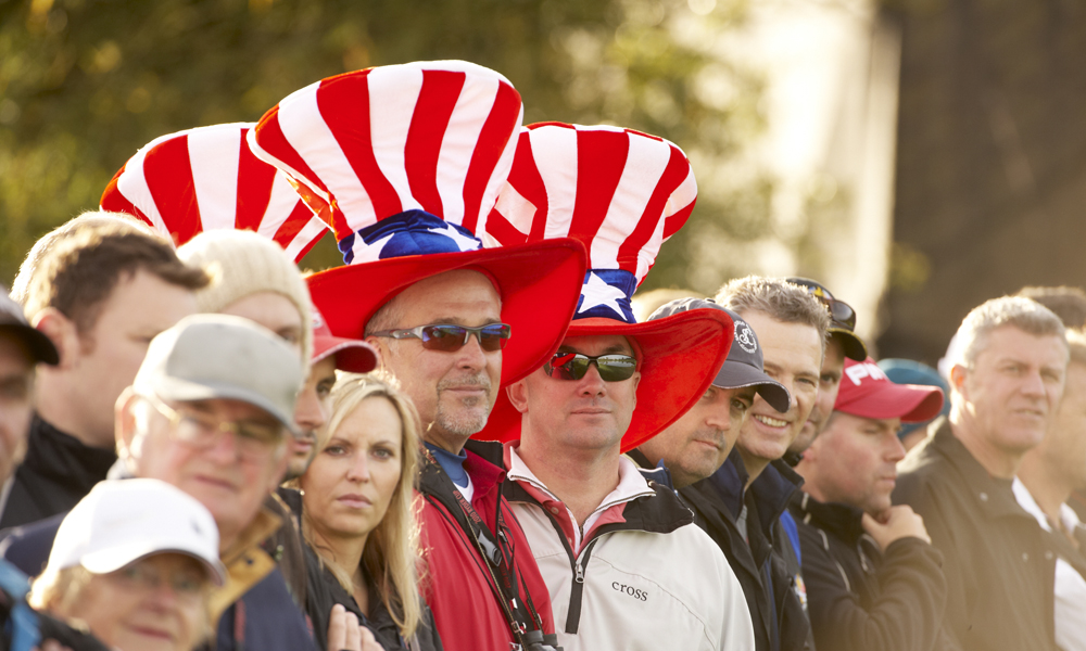 Half Uncle Sam, Half Mad Hatter, these American fans packed plenty of head-gear to attend the 2010 Ryder Cup in Wales.