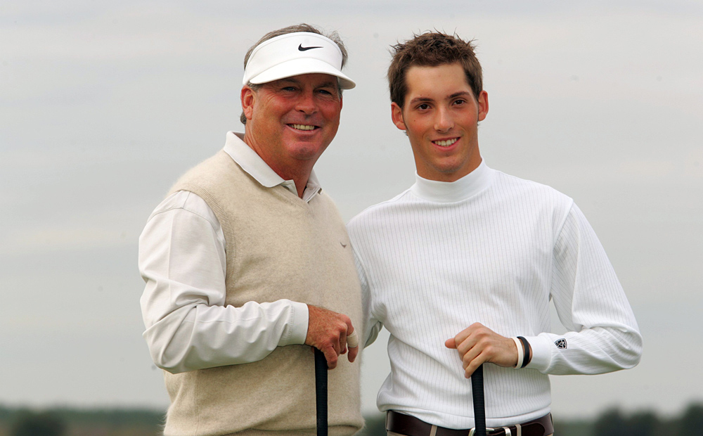 Travis Wadkins, son of Tour veteran Lanny Wadkins, also finished T120. (Pictured in 2004 with father Lanny.)