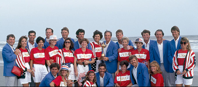 The United States team with their wives after winning the 1991 Ryder Cup held at Kiawah Island. Back row, from left to right: Lanny Wadkins, Penelope Wadkins, Steve Pate, Sheri Pate, Mark O'Meara, Alice O'Meara, Raymond Floyd, Maria Floyd, Chip Beck, Karen Beck, Catherine Stockton, captain Dave Stockton, Payne Stewart, Tracey Stewart, Sheryl Calcavecchia, Mark Calcavecchia, Hale Irwin, Paul Azinger, Toni Azinger; front row, left to right: Fred Couples, Debbie Couples, Lisa Pavin, Corey Pavin, Judy Levi, Wayne Levi and Sally Irwin. (Photo by Phil Sheldon/Popperfoto/Getty Images)