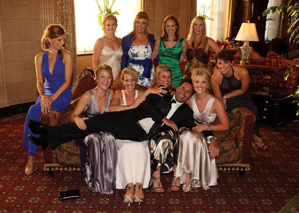 European team assistant captain Jose Maria Olazabal with wives and partners of the European team at the Brown Hotel before the 2012 Ryder Cup.