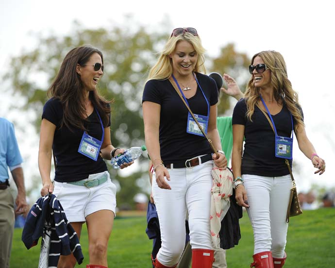 Sybi Kuchar, Lindsey Vonn and Fred Couples' girlfriend Nadine Moze follow the play of the U.S. Team during the Day One fourball Matches