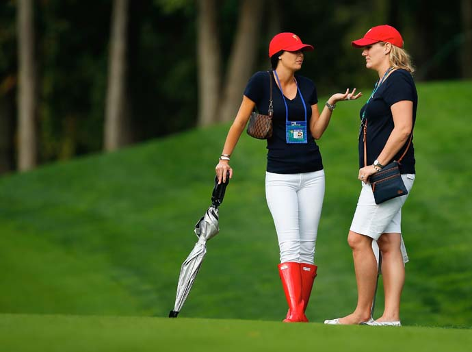 Amanda Dufner and Kim Johnson follow the play of the U.S. Team during the Day One fourball matches.