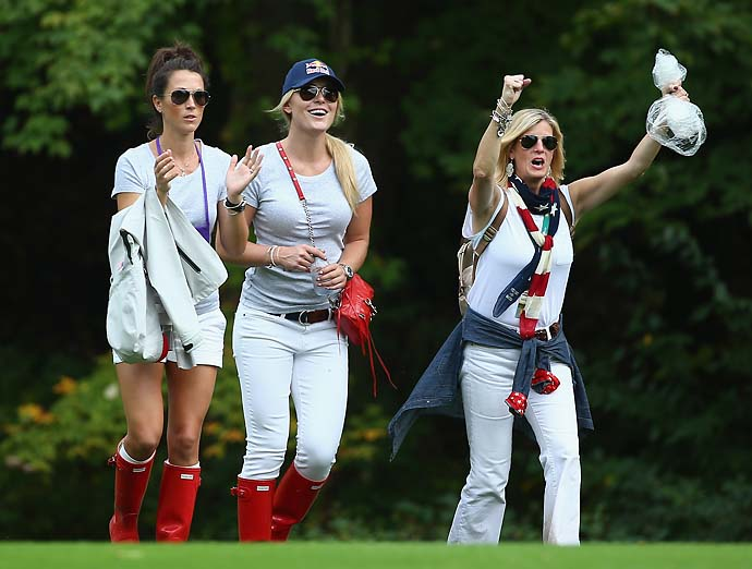 Sybi Kuchar and Lindsey Vonn watch the action on the 15th hole during the Day Three fourball matches.