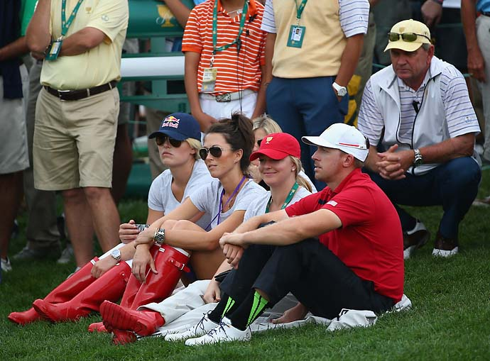 Sybi Kuchar, Lindsey Vonn, Kandi Mahan and Hunter Mahan on the 15th hole during the Day Three fourball matches.