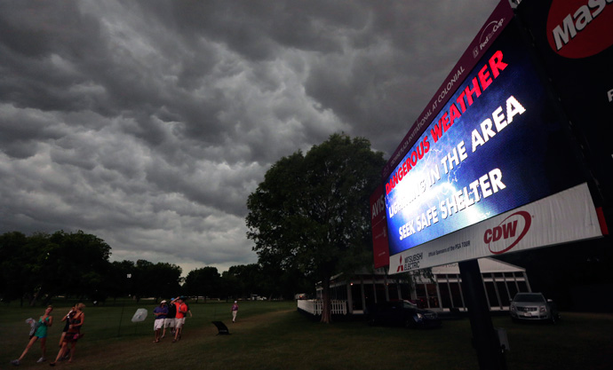 Eighteen groups were still on the course when play was suspended. The second round will resume on Saturday morning.