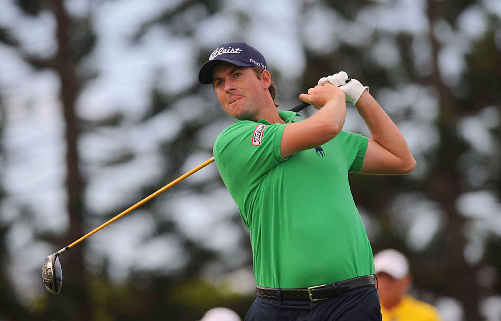 Webb Simpson birdied three of the last four holes to get into the final group on Saturday.