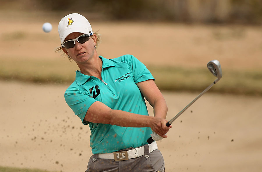 Karrie Webb is tied for sixth after a two-under 70.