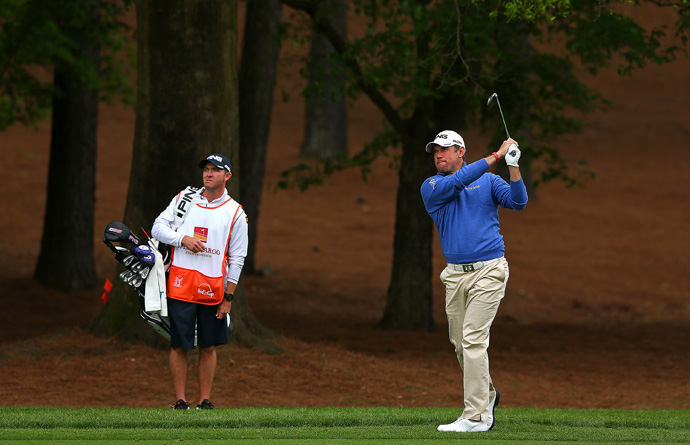 Lee Westwood is two behind after an even-par 72.