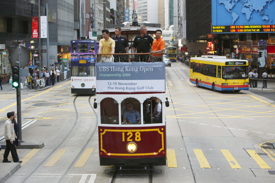 From left to right: Y.E. Yang, Westwood, Darren Clarke and Lin Wen Tang toured downtown Hong Kong on a tram ride before the 2009 Hong Kong Open.