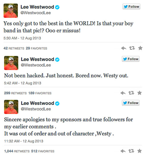 And it keeps going. The common answer to controversial tweets is to declare your account was hacked and hope everyone believes that. Westwood takes away that option here.