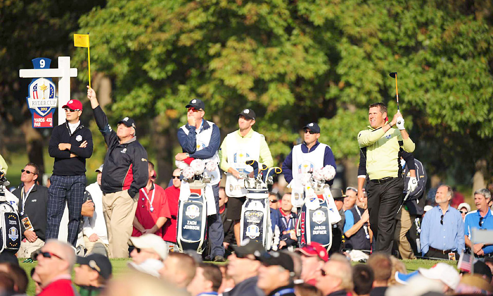 Lee Westwood and Francesco Molinari lost to Jason Dufner and Zach Johnson, 3 and 2.