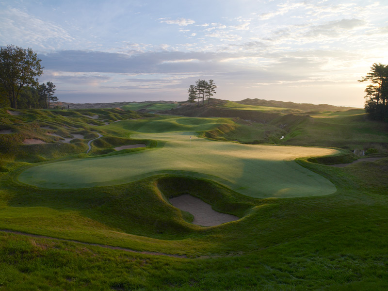 Whistling Straits, Straits Course -- Kohler, Wisc. -- americanclubresort.com                           Technically, it's not a seaside course. But Lake Michigan sure looks ocean-sized as you wind along its shoreline, on a layout perched high atop the bluffs. The Straits has been the worthy venue for two PGA Championships, with another pending in 2015. But its dramatic coastal atmosphere, so rife with peril, make it feel like the backdrop for a Gordon Lightfoot song.