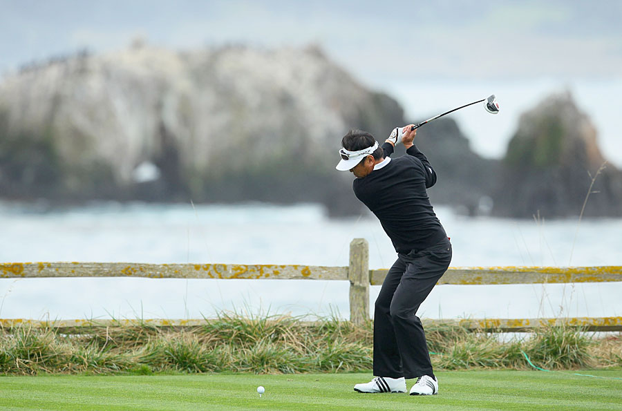 Charlie Wi shot a three-under 69 at Pebble Beach. He leads by three shots heading into the weekend.