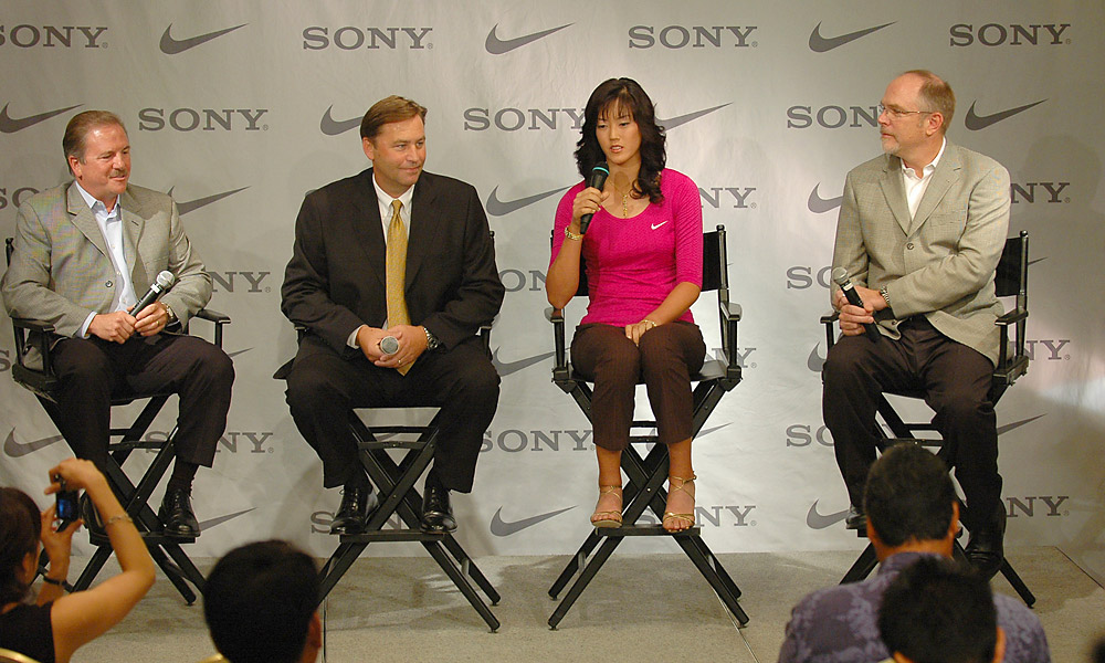 Wie signs with Nike and Sony                       In 2005, 15-year-old phenom Michelle Wie turned pro, announcing endorsement deals with Nike and Sony. Though still only 23, Wie has only won twice on the LPGA Tour.