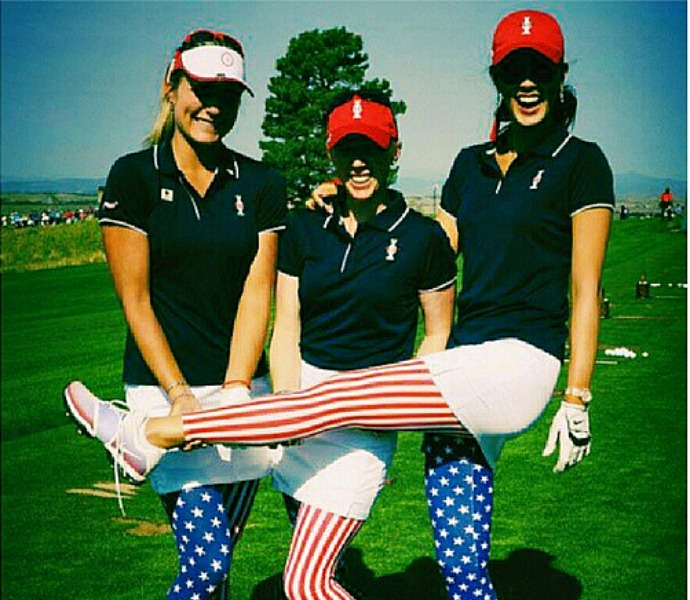 The trio of Michelle Wie, Lexi Thompson, and Morgan Pressel show off their Red, White and Blue spirit.