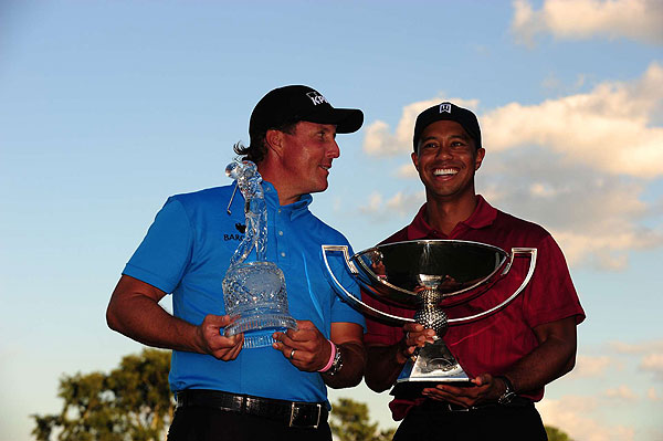 Neither Woods nor Mickelson won a major in 2009, but Mickelson won his first World Golf Championship event at Doral. He then defeated Woods by three strokes at the Tour Championship, but Woods won his second FedEx Cup trophy thanks to a six-win season.