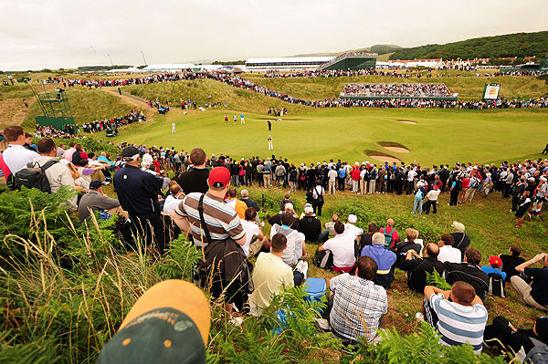 Crowds lined the greens to watch the grouping of Woods, Lee Westwood and Japanese teenager Ryo Ishikawa.