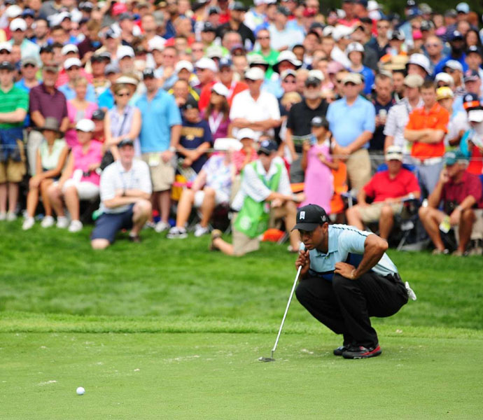 A double-bogey on the last hole dropped him from red numbers to one over.