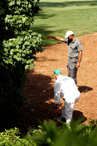 Woods had to take two unplayable lies during his opening round.
