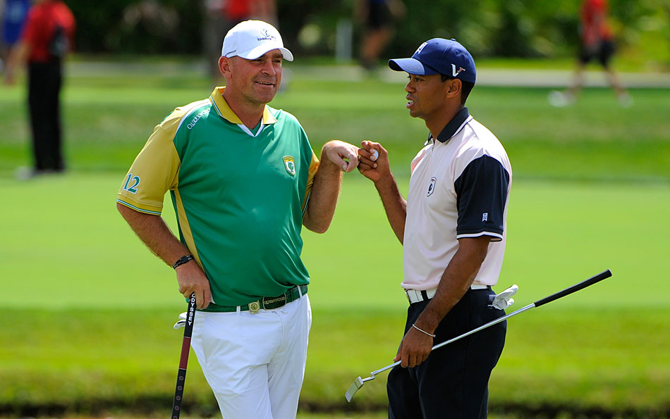 Tiger Woods and Thomas Bjorn were among the players battling it out for their respective clubs Tuesday at the Tavistock Cup.