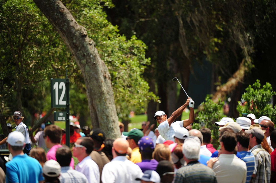 """It was probably the most solid I've hit the golf ball all year actually,"" Woods said. ""Even though I hit a couple off‑line, but they were just hit dead‑flush. I just got nothing out of the round."""
