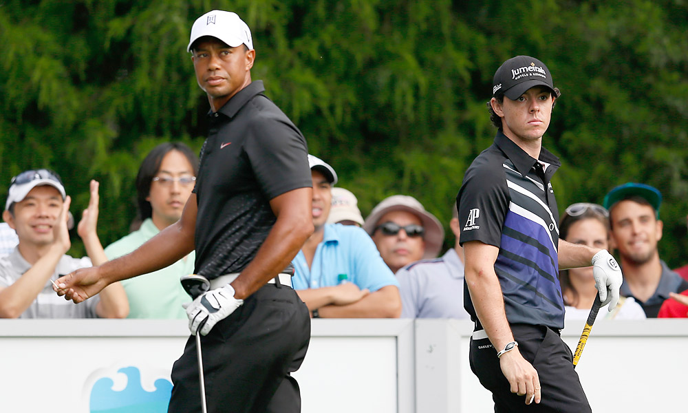 Tiger Woods and Rory McIlroy played together in the first round of the Barclays, where Woods shot a 68 -- one better than McIlroy's 69.