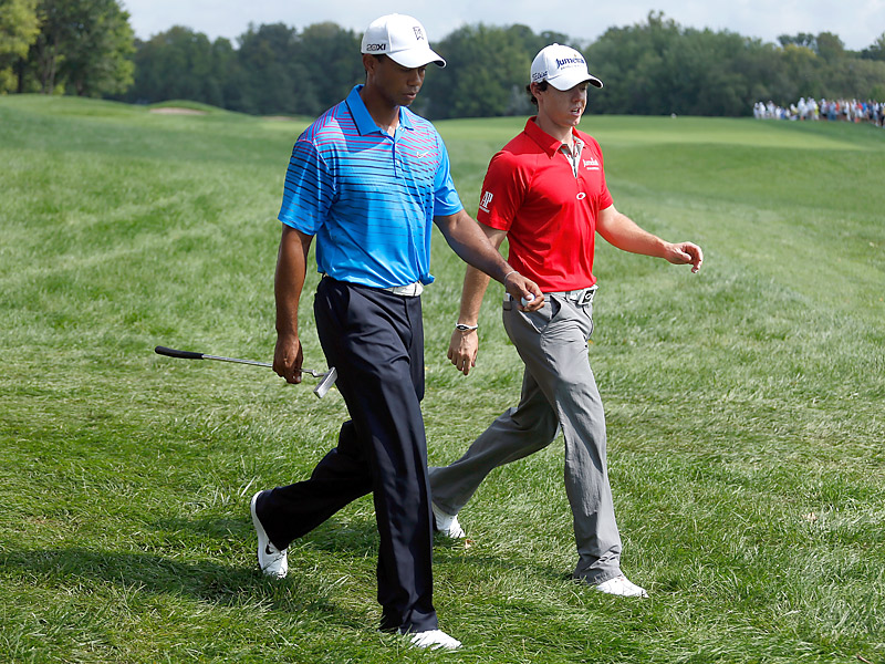 Woods played alongside last week's winner Rory McIlroy.