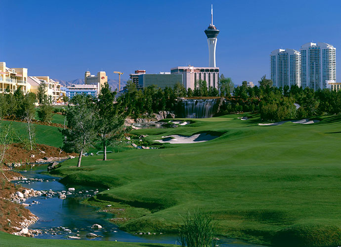 8. Wynn Las Vegas, Las Vegas, Nev.; wynnlasvegas.com; $300-$500                           Turn Tom Fazio loose with hotelier Steve Wynn's imagination and budget and you have the Wynn, with its enviable location on the Las Vegas Strip. The oasis-in-the-desert ambiance is achieved via 15,000 pines, planted atop slopes that cocoon virtually every hole and by the handsome water features that grace 11 holes.