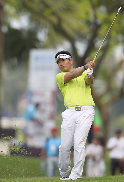 Y.E. Yang made two birdies and a bogey before play was suspended.