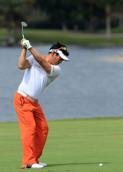 Y.E. Yang matched Tiger's five-under 67.