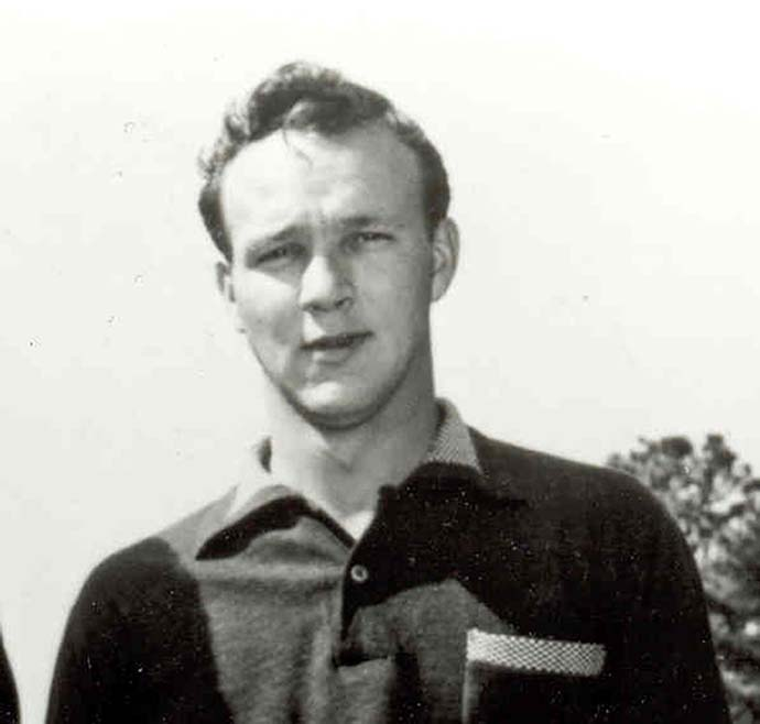 Arnold Palmer as a Wake Forest Demon Deacon golfer in 1947.